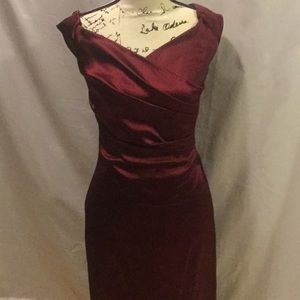 Gorgeous Cache cranberry red satin holiday dress 4